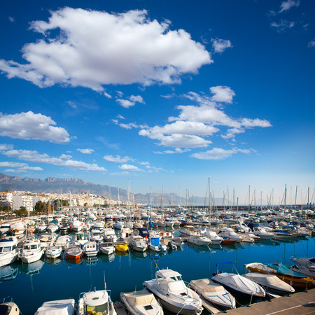 marina water: Altea village in alicante with marina boats foreground at Spain Valencian Community