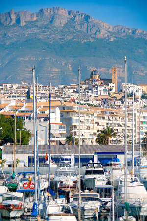 altea: Altea village in alicante with marina boats foreground at Spain Valencian Community