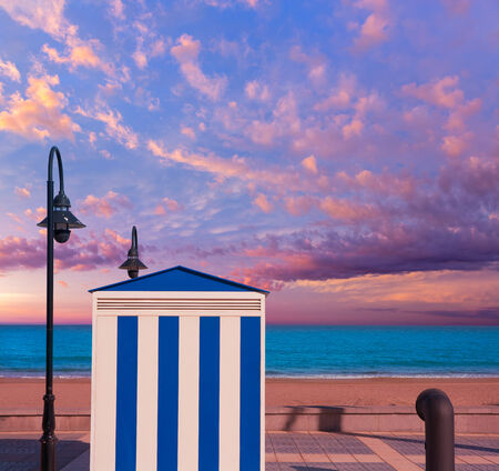vac: Benicasim in Castellon Benicassim beach stripes house at Mediterranean sea of spain