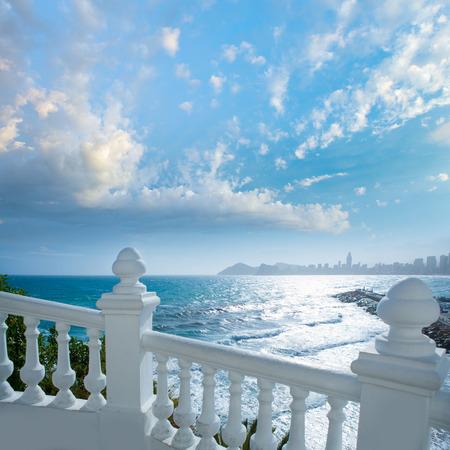 Benidorm balcon del Mediterraneo Mediterranean sea white balustrade in Alicante Spain photo