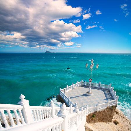 mediterraneo: Benidorm balcon del Mediterraneo and sea from white balustrade Alicante Spain Stock Photo