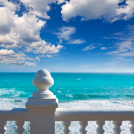 balcon: Benidorm balcon del Mediterraneo Mediterranean sea white balustrade in Alicante Spain
