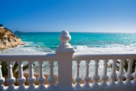 mediterraneo: Benidorm balcon del Mediterraneo Mediterranean sea white balustrade in Alicante Spain