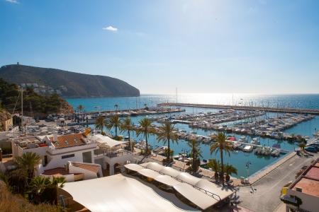 alicante: Moraira Alicante marina nautic port high angle view in Mediterranean Stock Photo