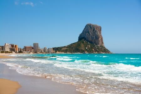 Calpe Alicante Arenal Bol beach with Penon de Ifach mountain in Mediterranean sea of Spain Stock Photo