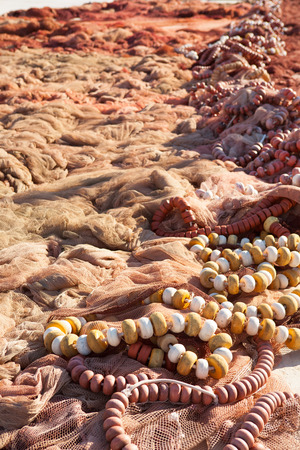 Fishing nets and tackle of mediterranean fisherboats in spain photo