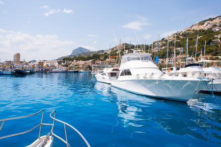alicante: Javea Xabia port marina with Mongo mountain in Alicante Spain