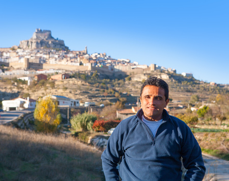 Latin happy tourist in spain at Morella in Valencian community photo