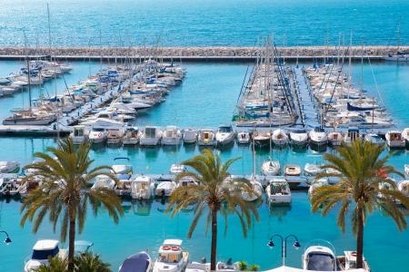 nautic: Moraira Alicante marina nautic port high angle view in Mediterranean Stock Photo