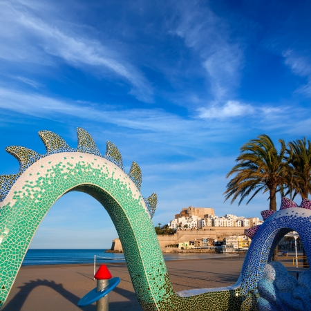 valencian: Peniscola Castle and beach in Castellon Valencian community of spain