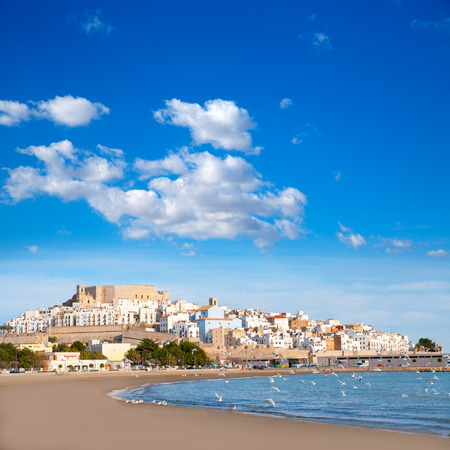 vac: Peniscola Castle and beach in Castellon Valencian community of spain
