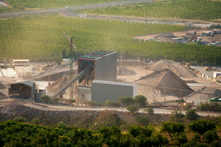 sand quarry: Arid crushing quarry in Castellon province at Valencian Community of Spain Stock Photo