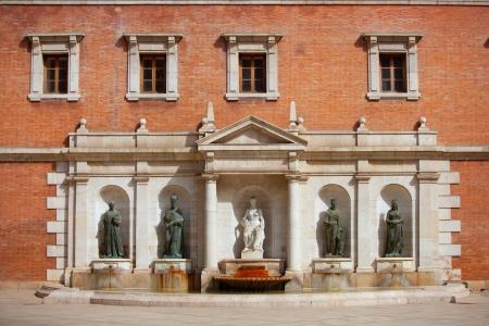 university fountain: Valencia Plaza del Patriarca University downtown fountain in spain Editorial