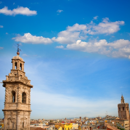 catalina: Santa Catalina church tower and Miguelete in Valencia historic downtown Spain Stock Photo