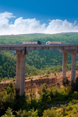 bridge in the forest: viaducto de Bunol in Autovia A-3 road Valencia Spain