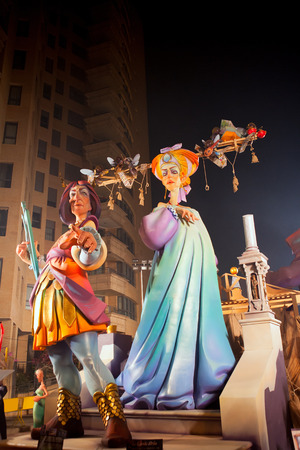 Fallas in Valencia fest figures that will burn on March 19 traditional popular celebration