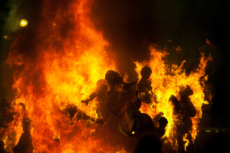 valencia: Crema in Fallas of Valencia on March 19 night all figures are burned as end of celebration