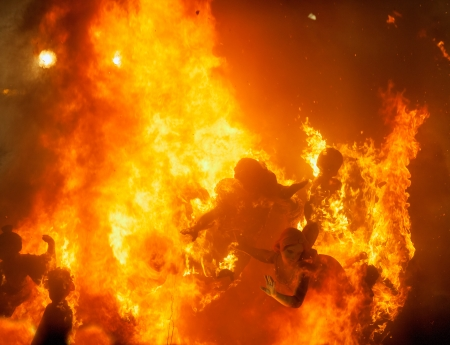 crema: Crema in Fallas of Valencia on March 19 night all figures are burned as end of celebration