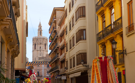 Miguelete Micalet in Valencia in Fallas view from Navellos street Spain Stock Photo