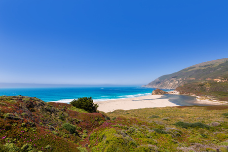 monterey: California beach in Big Sur in Monterey Pacific Highway along State Route 1 US
