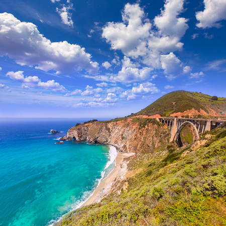 stone bridge: California Bixby bridge in Big Sur in Monterey County along State Route 1 US Stock Photo