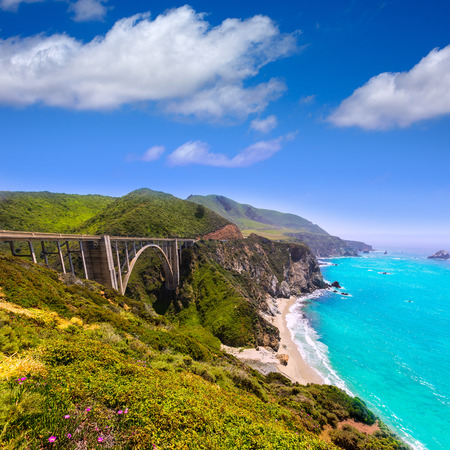 monterey: California Bixby bridge in Big Sur in Monterey County along State Route 1 US Stock Photo