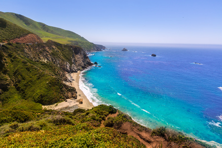 monterey: California  beach near Bixby bridge in Big Sur in Monterey County along State Route 1 US Stock Photo