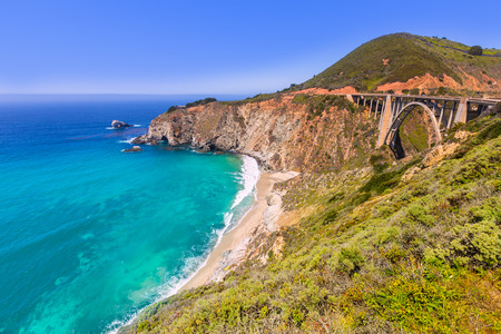 bixby: California Bixby bridge in Big Sur in Monterey County along State Route 1 US Stock Photo