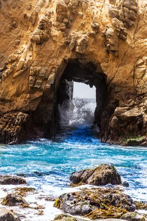 california coast: California Pfeiffer Beach in Big Sur State Park rocks and waves