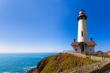 California Pigeon point Lighthouse in Cabrillo Hwy coastal highway State Route 1 photo