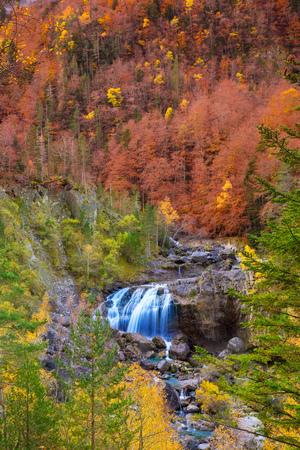 Cascada de Arripas waterfall in Ordesa valley Pyrenees Huesca Aragon Spain photo