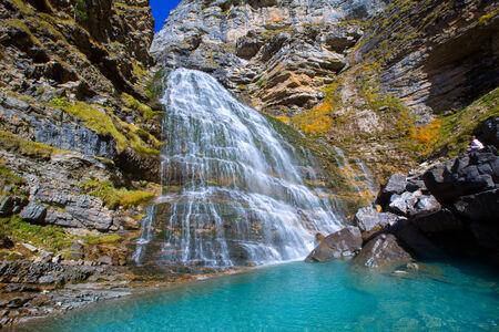 perdido: Cascada Cola de Caballo waterfall under Monte Perdido at Ordesa Valley Aragon Huesca Pyrenees of Spain