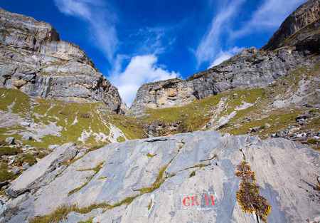 Circo de Soaso Monte Perdido in Ordesa Valley at Huesca Aragon Pyrenees spain photo