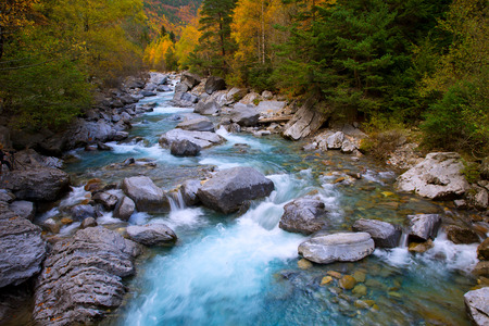 Rio Ara river Bujaruelo in Valle de Ordesa valley Pyrenees Huesca Aragon at Spain photo