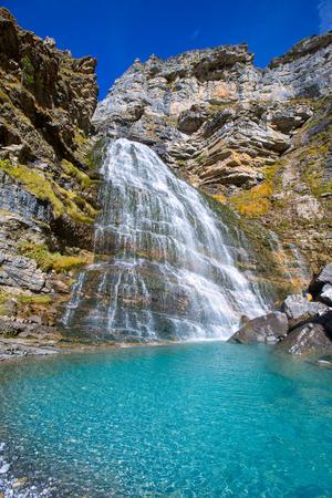 ordesa: Cascada Cola de Caballo waterfall under Monte Perdido at Ordesa Valley Aragon Huesca Pyrenees of Spain
