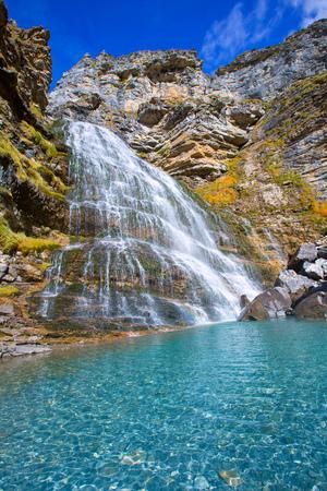 horsetail: Cascada Cola de Caballo waterfall under Monte Perdido at Ordesa Valley Aragon Huesca Pyrenees of Spain