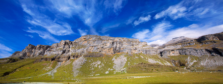 Monte Perdido and Soum Raymond at Soaso circus in Ordesa Valley Aragon Pyrenees Huesca Spain photo