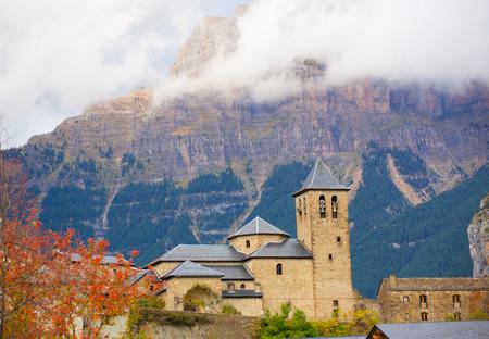 aragon: Torla Church in Pyrenees Ordesa Valley door Aragon Huesca Spain Stock Photo