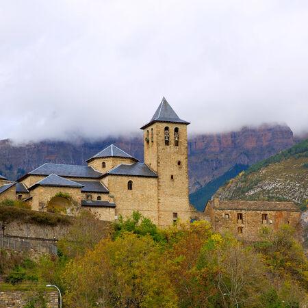 ordesa: Torla Church in Pyrenees Ordesa Valley door Aragon Huesca Spain Stock Photo