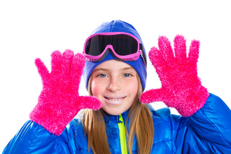 6e76cd130 Blond Kid Gir Winter Snow Portrait With Open Hands With Pink.. Stock ...