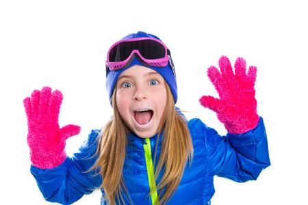 gir: blond kid gir winter snow portrait with open hands pink gloves shouting gesture