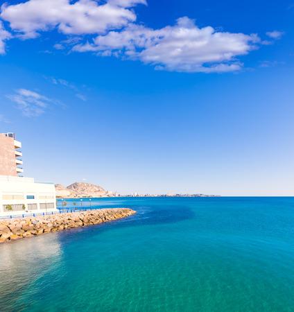san juan: Alicante and san Juan in Mediterranean sea of Spain Valencian Community