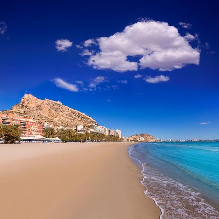 santa barbara: Alicante Postiguet beach and castle Santa Barbara in Spain Valencian Community
