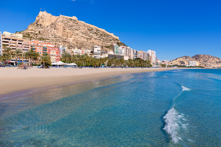 Alicante Postiguet beach and castle Santa Barbara in Spain Valencian Community