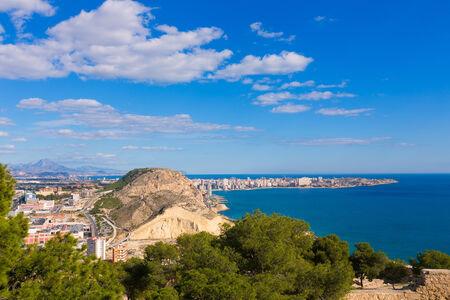 alicante: Alicante San Juan beach view from Santa Barbara Castle in Spain Stock Photo