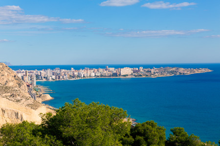 juan: Alicante San Juan beach view from Santa Barbara Castle in Spain Stock Photo