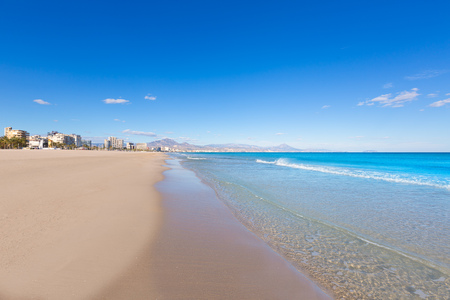 alicante: Alicante San Juan beach beautiful Mediterranean sea at Spain valencian Community Stock Photo