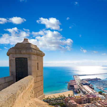 santa barbara: Alicante Postiguet beach view from Santa Barbara Castle of Spain