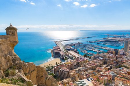 aerial view city: Alicante skyline aerial view from Santa Barbara Castle in Spain Stock Photo