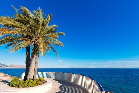 spanish landscapes: Altea beach balconade typical white Mediterranean village Alicante of Spain